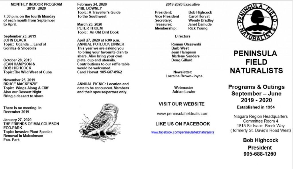 Peninsula Field Naturalists 2019/2020 Programs/Outings