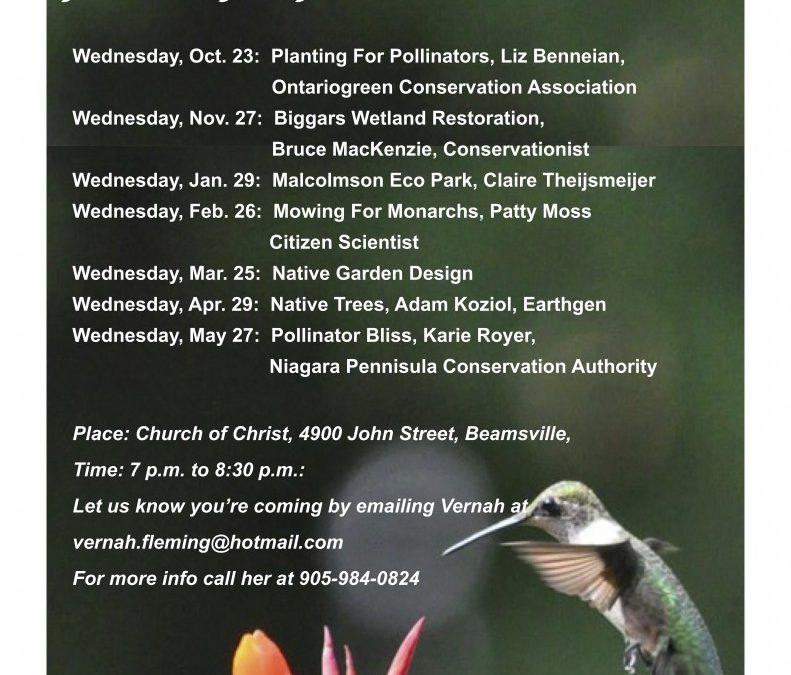 Niagara Native Garden Club in Grimsby – Speaker Series